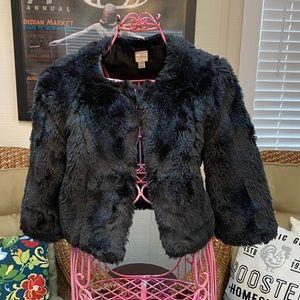 Lauren Conrad Black Faux Fur Crop Jacket Size S